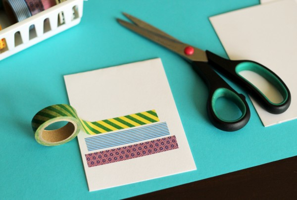 Making washi tape birthday cakes