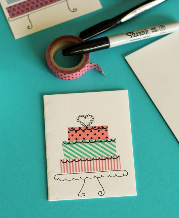 Washi tape birthday cake craft for kids