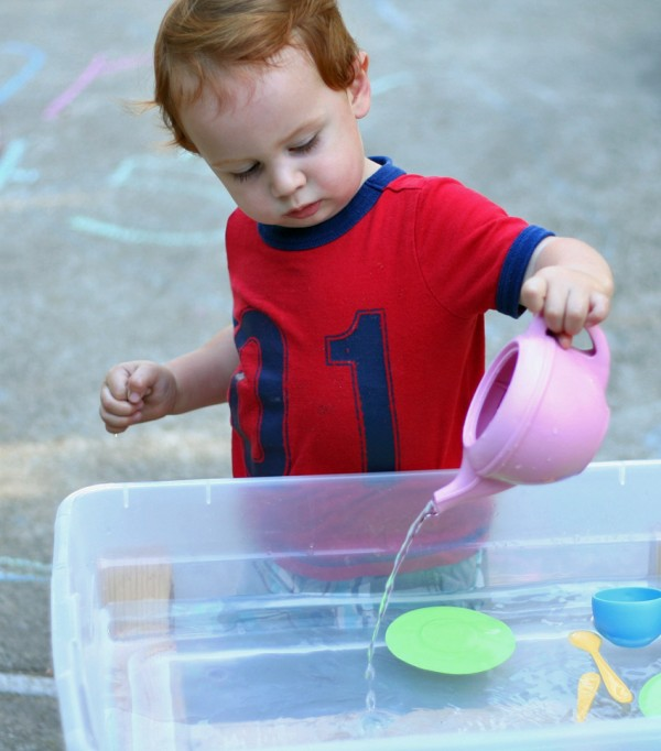 Play dishes in the water table