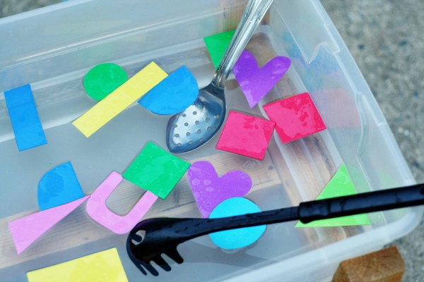 Foam shapes and scoopers in the water table