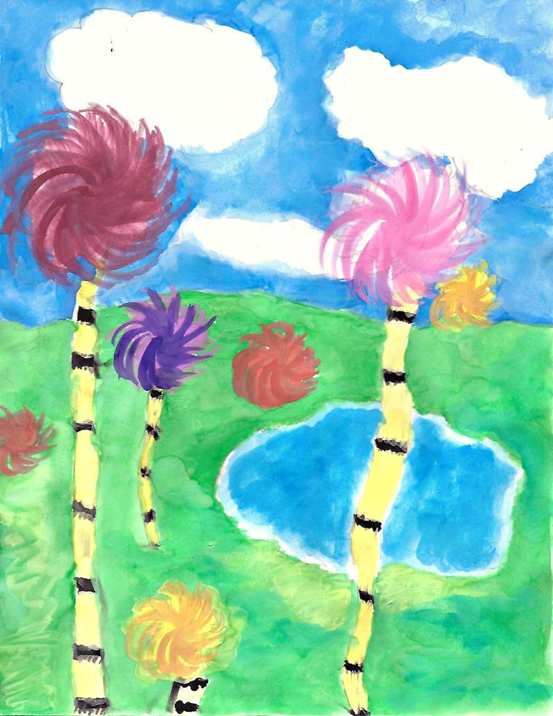 Truffula Tree Watercolor Art to Celebrate Earth Day | Make and Takes
