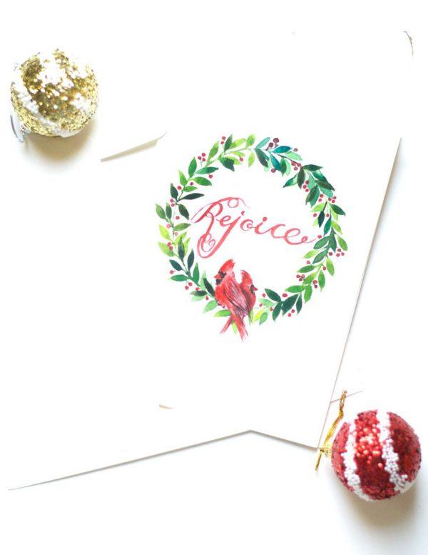 DIY Watercolor Christmas Wreath Card