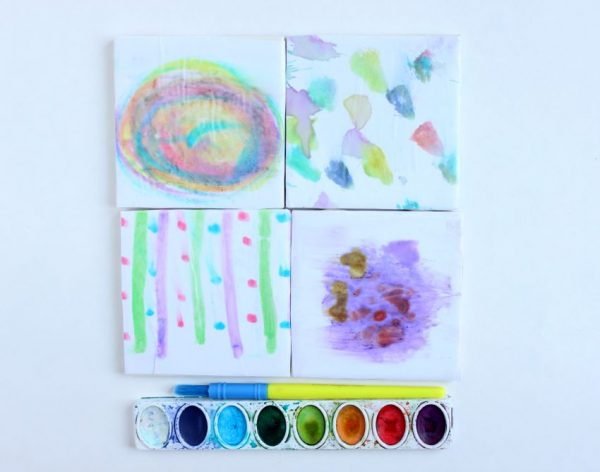 watercolor coasters the kids can help make