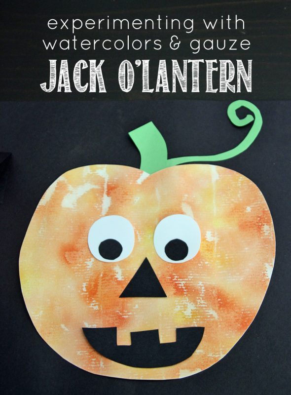 Watercolor and gauze painted Jack O'Lantern