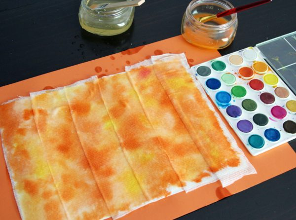 Watercolor and gauze painting for kids