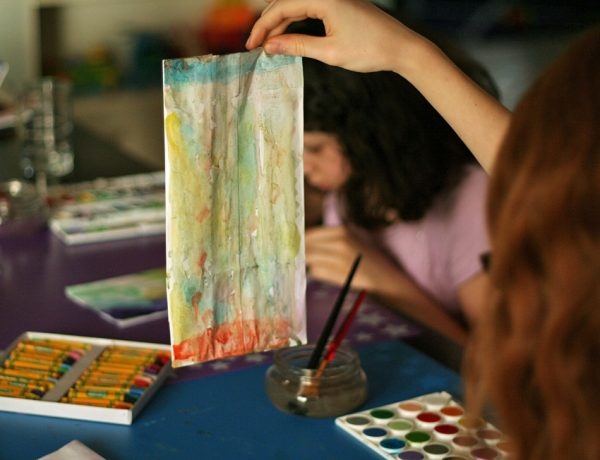 Watercolor gift bags with drip painting