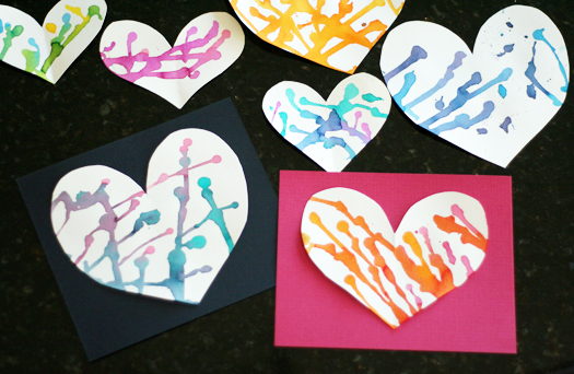 Colorful Puddle-Painted Hearts finished