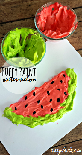15 DIYs to Make for National Watermelon Day Puffy Paint