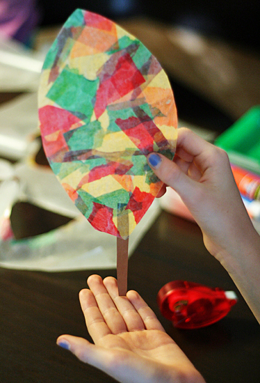 Wax paper leaf craft project