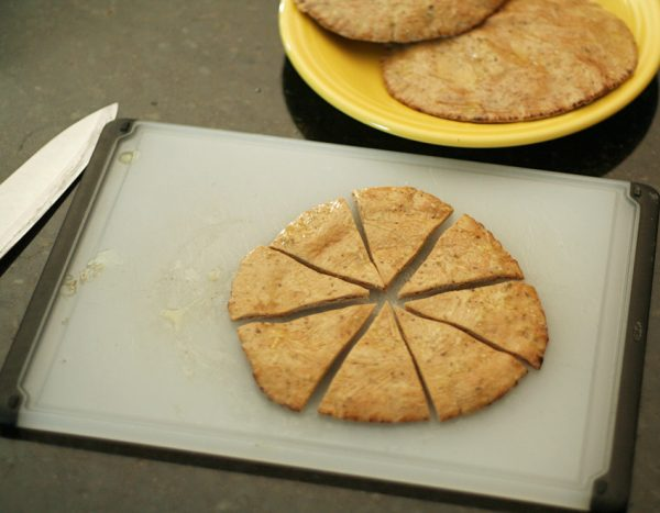 Cutting pita bread for chips