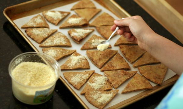 Parmesan garlic pita chips (whole wheat too!)
