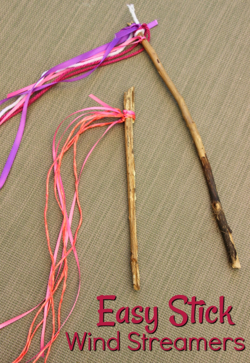 Easy stick wind streamers kids can make this summer! A fun nature craft for the backyard or camping trip!