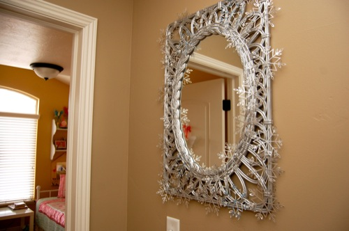 Upcycled Snowflake Mirror