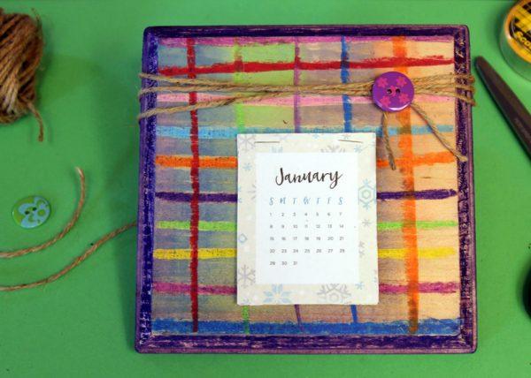 Wood desk calendar - a gift kids can make!