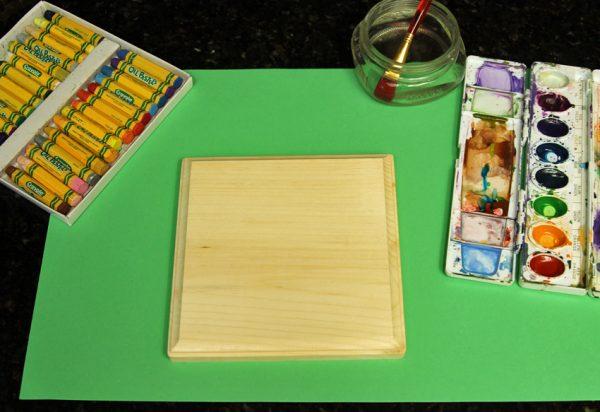 Watercolor resist on wood