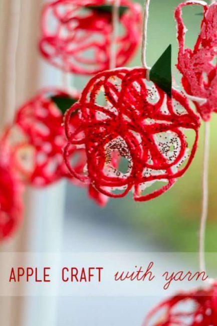 Yarn Apple Craft for Kids to Make