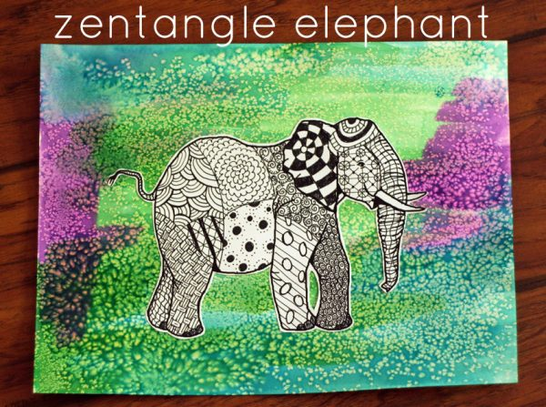 Zentangle elephant (with a salty watercolor background!)