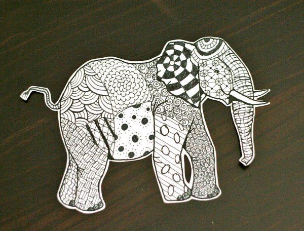 Zentangle elephant project for kids