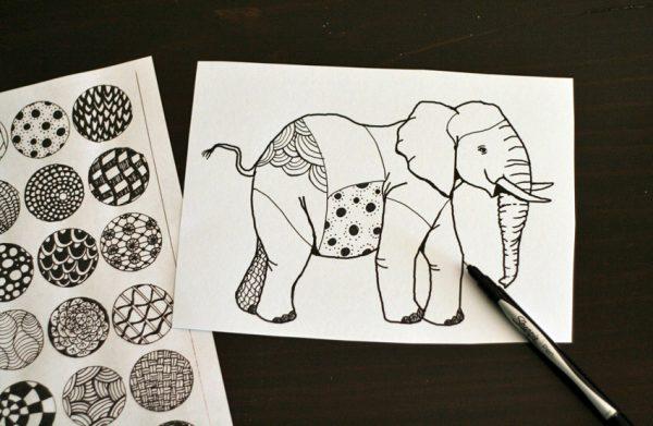 Zentangle elephant drawing