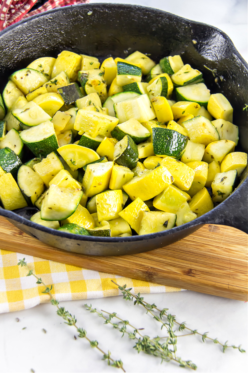 zucchini and yellow squash sauteed in garlic butter